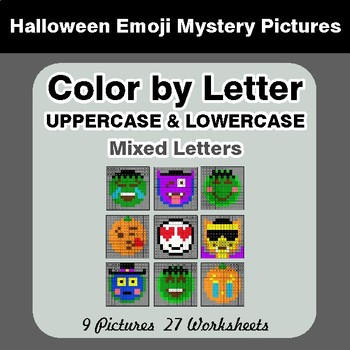 Color by Letter: Lowercase & Uppercase - Halloween Emoji Mystery Pictures