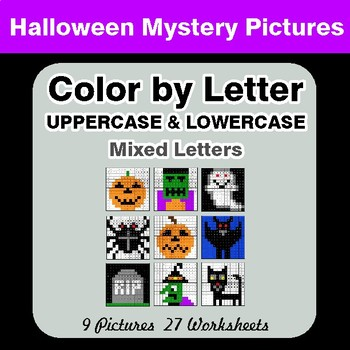 Color by Letter: Lowercase & Uppercase - Halloween Mystery Pictures