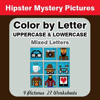 Color by Letter: Lowercase & Uppercase - Hipsters Mystery Pictures
