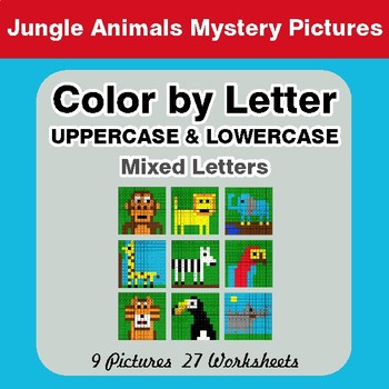 Color by Letter: Lowercase & Uppercase - Jungle Animals Mystery Pictures