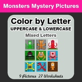 Color by Letter: Lowercase & Uppercase - Monsters Mystery