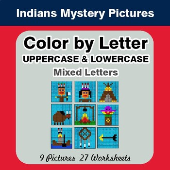 Color by Letter (Lowercase & Uppercase) Native American Indians Mystery Pictures
