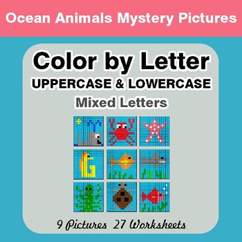 Color by Letter: Lowercase & Uppercase - Ocean Animals Mystery Pictures