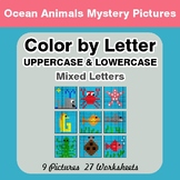 Color by Letter: Lowercase & Uppercase - Ocean Animals Mys