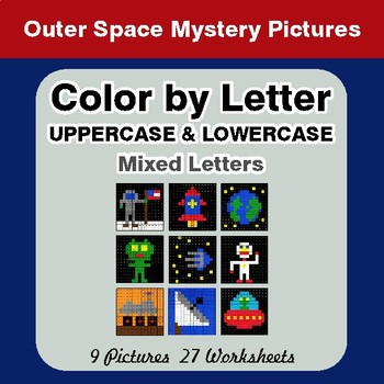 Color by Letter: Lowercase & Uppercase - Outer Space Mystery Pictures