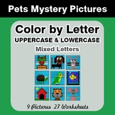 Color by Letter: Lowercase & Uppercase - Pets Mystery Pictures