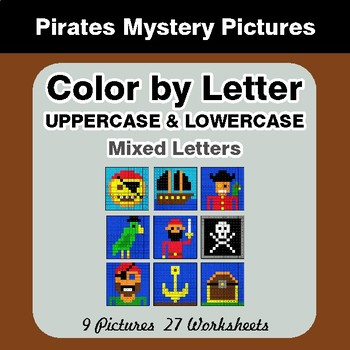 Color by Letter: Lowercase & Uppercase - Pirates Mystery Pictures