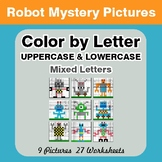 Color by Letter: Lowercase & Uppercase - Robots Mystery Pictures