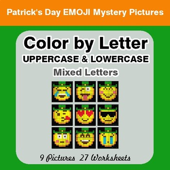 Color by Letter: Lowercase & Uppercase - St. Patrick's Emoji Mystery Pictures