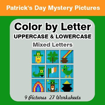 Color by Letter: Lowercase & Uppercase - St. Patrick's Mystery Pictures