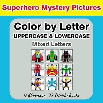 Color by Letter: Lowercase & Uppercase - Superhero Mystery Pictures
