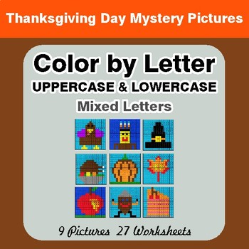 Color by Letter: Lowercase & Uppercase - Thanksgiving Mystery Pictures