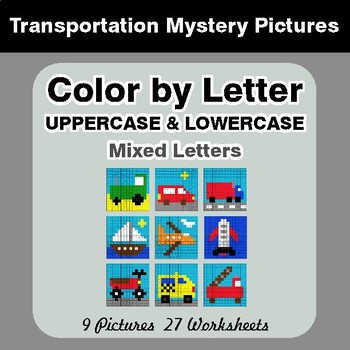 Color by Letter: Lowercase & Uppercase - Transportation Mystery Pictures
