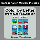 Color by Letter: Lowercase & Uppercase - Transportation My