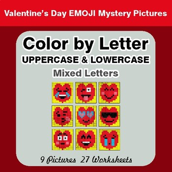 Color by Letter: Lowercase & Uppercase - Valentine's Day Emoji Mystery Pictures