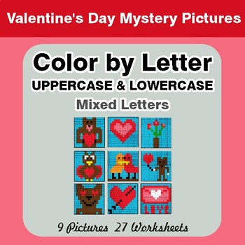 Color by Letter: Lowercase & Uppercase - Valentine's Day Mystery Pictures