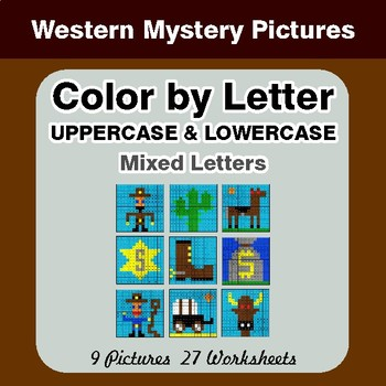 Color by Letter: Lowercase & Uppercase - Western Mystery Pictures