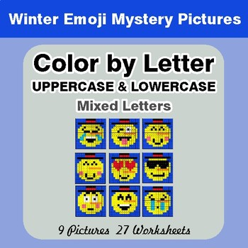 Color by Letter: Lowercase & Uppercase - Winter Snowman Emoji Mystery Pictures