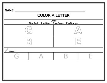 Color by Letter- Name Game- Editable
