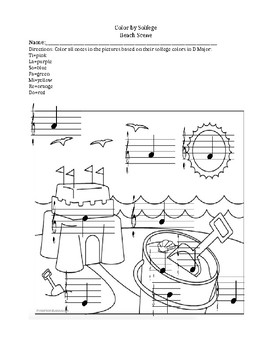 Color by Letter Name- Treble Clef, Beach Scene Edition