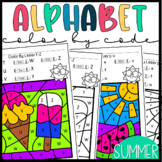 Color by Letter- Summer Alphabet Practice Worksheets Distance Learning