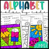 Color by Letter- Summer Alphabet Practice Worksheets Dista