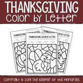 Color by Letter Thanksgiving Preschool Worksheets