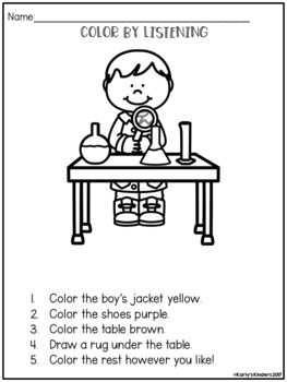 color by listening a following directions activity by karly 39 s kinders. Black Bedroom Furniture Sets. Home Design Ideas