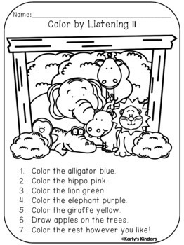 Color by Listening Bundle (A Following Directions Activity)