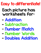 Color by Math Fact Differentiated Surprise Pictures - Numbers, Add & Subtract
