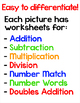 Color by Math Fact Surprise Pictures - Add, Subtract, Multiply or Divide