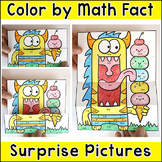 Color by Math Fact Surprise Pictures - Fun Summer or End of the Year Activity