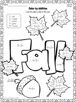 Color by Math (Second Grade) ~ Fall