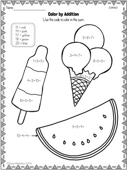 Color by Math (Second Grade) ~ Summer