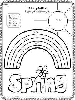 Color by Math (First Grade) ~ Spring