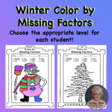 Color by Multiplication Missing Factors Winter Theme 15 student pages
