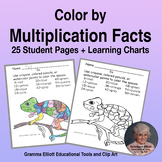 Color by Number Multiplication Facts - no prep - answer keys and Charts