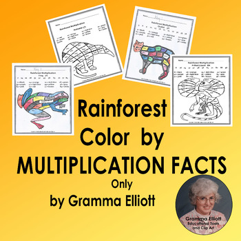 Color by Multiplication Facts Rainforest Theme