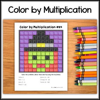 Color by Multiplication – Halloween Hidden Picture #84 Witch