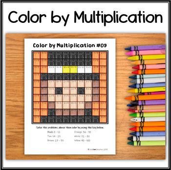 Color by Multiplication – Hidden Picture #09 Pilgrim Boy