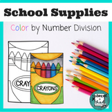 Division Color by Number School Supplies Theme