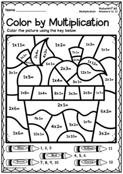 Autumn/Fall Color by Multiplication Worksheets