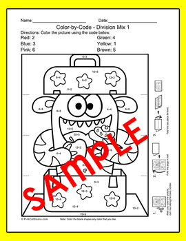 Color by Multiplication and Division Differentiated Surprise Pictures