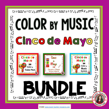 Color by Music: Cinco de Mayo Themed Color by Music Coloring Sheets