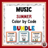 Color by Music: SUMMER Themed Color by Music Coloring Sheets