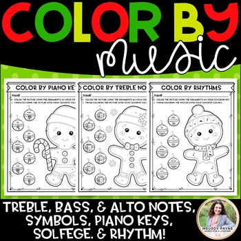 Color by Music: Gingerbread Cookies! {Notes, Symbols, Rhythms, & More!}