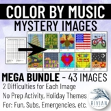 Color by Music: Mystery Image MEGA PACK (43 Themed Images w/ 2 Difficulties)