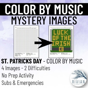 Color by Music: Mystery Image St. Patrick's Day (4 Images, 2 Difficulties)