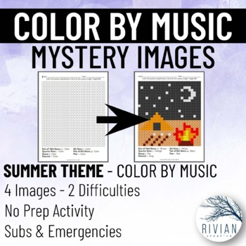 Color by Music: Mystery Image Summer (4 Images, 2 Difficulties)