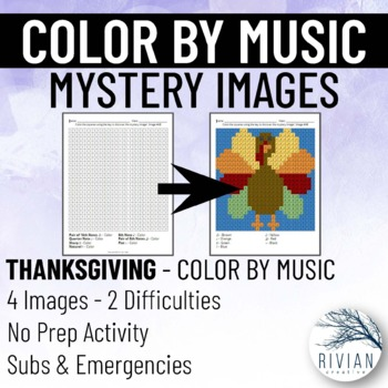 Color by Music: Mystery Image Thanksgiving (4 Images, 2 Difficulties)